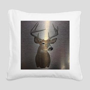 grunge texture western deer Square Canvas Pillow