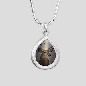grunge texture western d Silver Teardrop Necklace