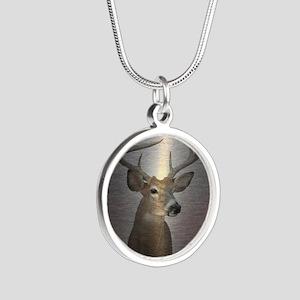 grunge texture western deer Silver Round Necklace