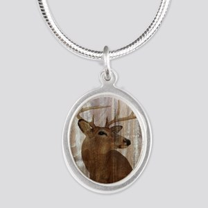 rustic western country deer Silver Oval Necklace