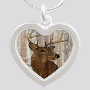 rustic western country deer Silver Heart Necklace