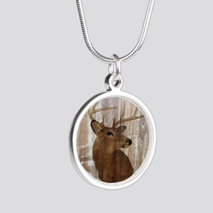 rustic western country deer Silver Round Necklace