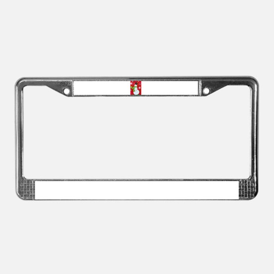 Happy Snowman License Plate Frame