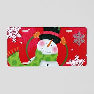 Happy Snowman Aluminum License Plate