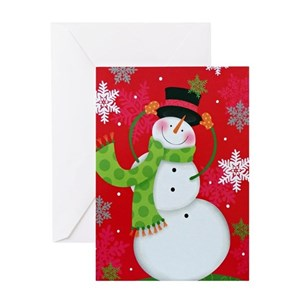 snowman greeting cards cafepress