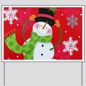 Happy Snowman Yard Sign