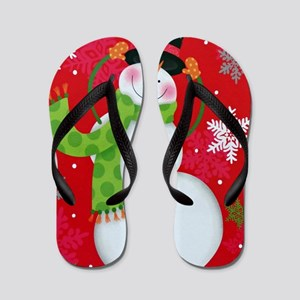 Happy Snowman Flip Flops