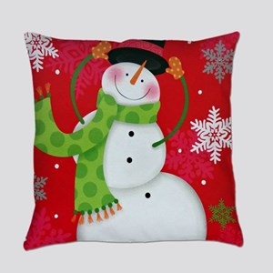 Happy Snowman Everyday Pillow