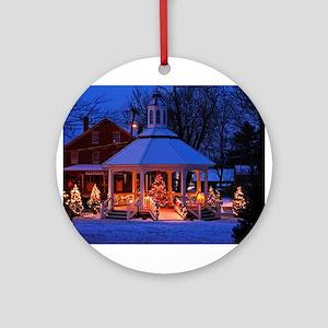 Sutton Gazebo at Christmas Round Ornament