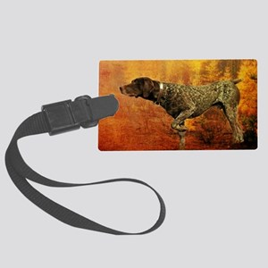 autumn hunting pointer dog Large Luggage Tag