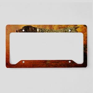 autumn hunting pointer dog License Plate Holder