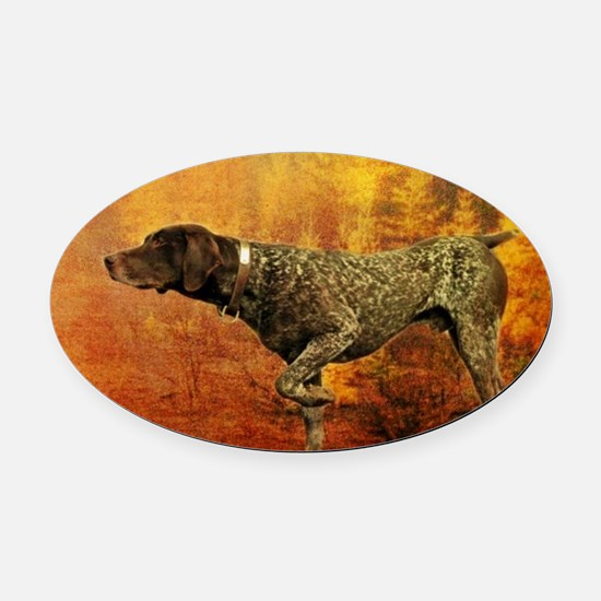 autumn hunting pointer dog Oval Car Magnet