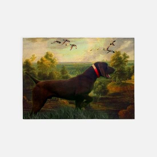 vintage hunting pointer dog 5'x7'Area Rug