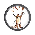 Squirrel Throwing Nuts And Leaves In The Air Wall