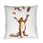 Squirrel Throwing Nuts And Leaves In The Air Every