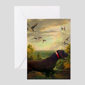 vintage hunting pointer dog Greeting Cards