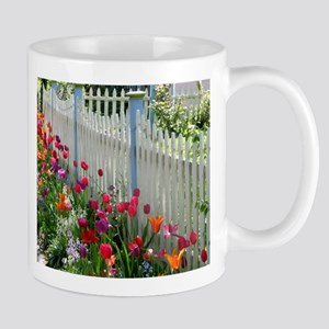 Tulips Garden along White Picket Fence 1 Mugs