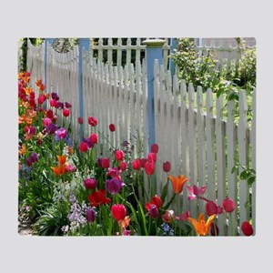 Tulips Garden along White Picket Fence 1 Throw Bla