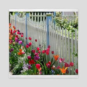 Tulips Garden along White Picket Fence 1 Queen Duv