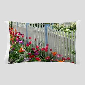 Tulips Garden along White Picket Fence 1 Pillow Ca