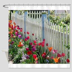 Tulips Garden along White Picket Fence 1 Shower Cu