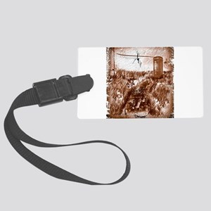 Old phone booth Large Luggage Tag