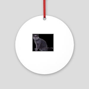 grey cat Round Ornament