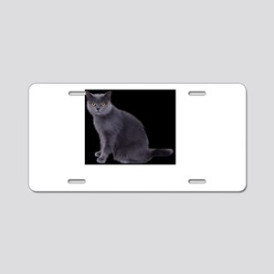 grey cat Aluminum License Plate