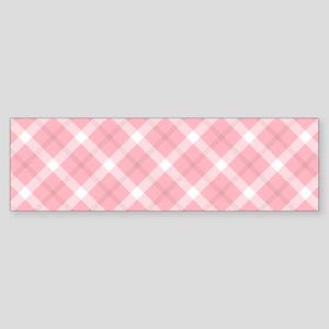 Pink and White Tartan Bumper Sticker