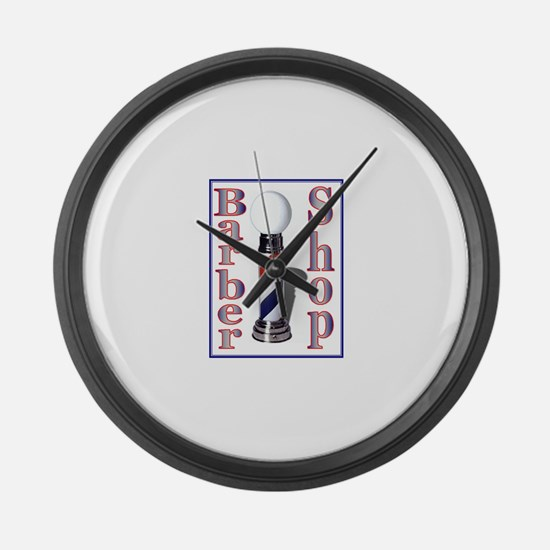Barber Shop-Blue Large Wall Clock