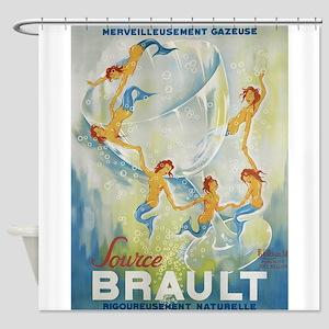 Brault Champagne Vintage Poster Shower Curtain