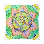 Golden Mandala Woven Throw Pillow