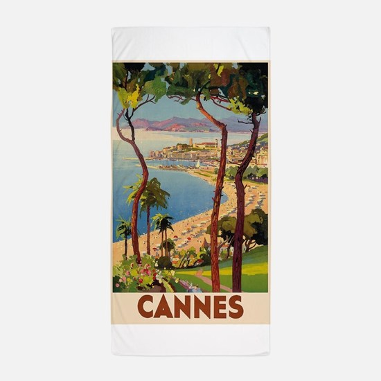 Cannes, France Vintage Travel Poster Beach Towel