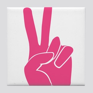 Pink Peace Sign Tile Coaster