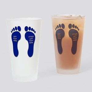 Two Blue Left Feet Drinking Glass