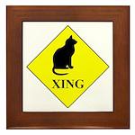 Cat Crossing Framed Tile