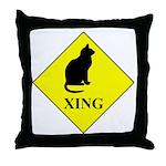 Cat Crossing Throw Pillow