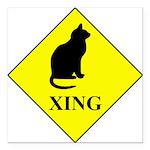 Cat Crossing Square Car Magnet 3