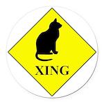 Cat Crossing Round Car Magnet
