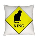 Cat Crossing Everyday Pillow