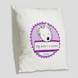 KiniArt Westie Bestie Burlap Throw Pillow