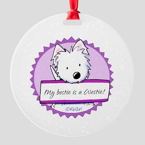 KiniArt Westie Bestie Round Ornament
