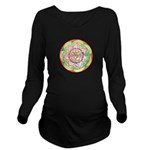 Orange Mandala Long Sleeve Maternity T-Shirt
