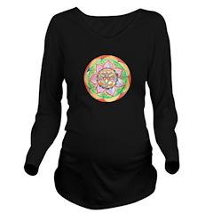 Orange Mandala Long Sleeve Maternity T-Shirt