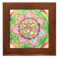 Orange Mandala Framed Tile