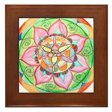 Orange Mandala Framed Tile