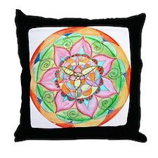 Orange Mandala Throw Pillow