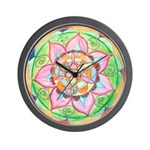 Orange Mandala Wall Clock