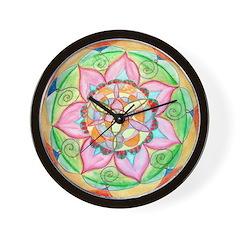 Orange Mandala Wall Clock