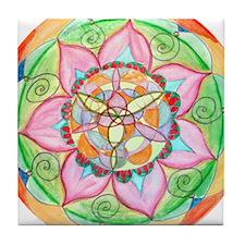 Orange Mandala Tile Coaster